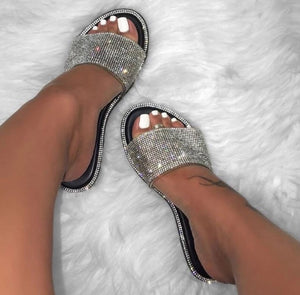 Highlight-Black bling out rhinestone flat slide sandals