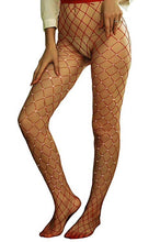 Women's Red Hollow Out Rhinestone Fishnet Pantyhose Tights