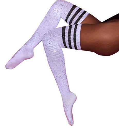 Bling 4 Me - Black & white bling knee high socks