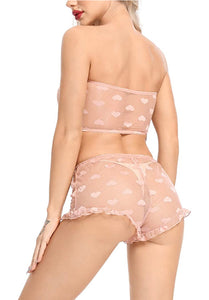 Double Heart- mesh short lingerie set peach