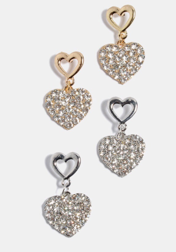 2 Hearts-Double heart stud earrings