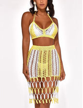 Relaxed- yellow crochet two-piece matching skirt set