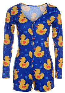 Rubber ducky - long sleeve short rompers pajama