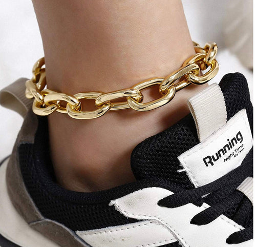 Jay-Yellow Gold Chunky Cuban Link Anklet