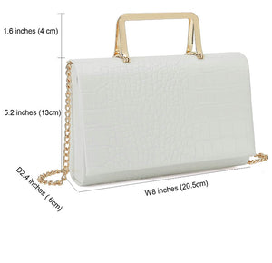 Charming - white crocodile print bag