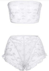 Double heart - white mesh lingerie short set