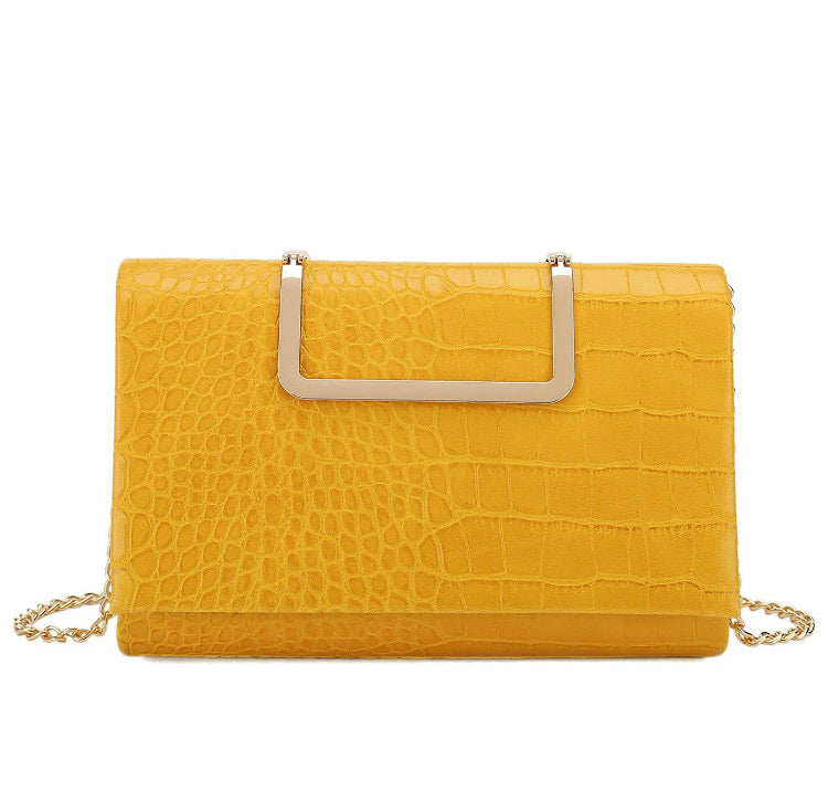 Charming - yellow crocodile print handbag