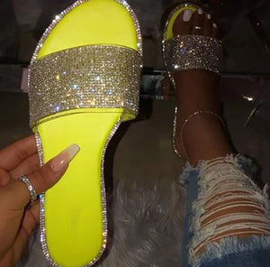 Highlight- bling out rhinestone flat summer sandals