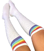 Bling 4 Me - White Rainbow over the knee bling women socks