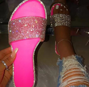 Highlight- pink bling out rhinestone slide sandals