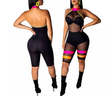 Electric-pink & Black Colorful Stripe Patchwork Sheer Mesh Halter Jumpsuit