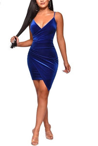 Blueberry- navy velvet dress