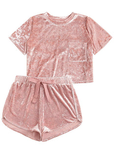Comfy- Pink 2 Piece Outfits Velvet Crop Top Tee Shirt and Shorts