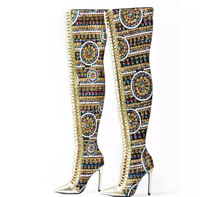 Sometimes -sequences knee high boots