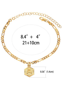 Ellie- 18k Gold Plated 4mm Figaro Chain Initial Anklet for Women Fashion Ankle Bracelet with Letter Alphabet Foot Jewelry with Extension
