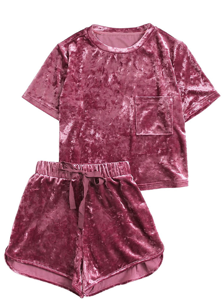 Comfy- 2 Piece Outfits Velvet Crop Top Tee Shirt and Shorts