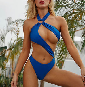 Kitty -  blue monokini sexy hollow out 1 piece swimsuit