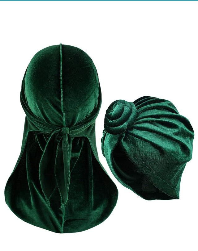 Green-Durags and Bonnets a Set for Men and Women Velvet Durag with Women Turban Cap