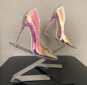 Sneaky - multi color snake print high heel shoes