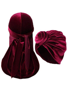 Burgundy Durags and Bonnets a Set for Men and Women Velvet Durag with Women Turban Cap