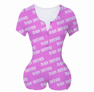 Bad b!tch-short sleeve pajama rompers