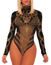 Star bright -Black Bling out Mesh  luxury Bodysuit