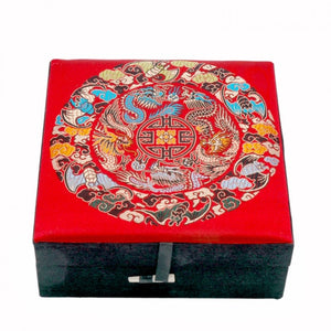 Chinese Red Silk Dragon Box