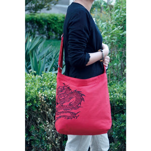 Red Canvas Chinese Dragon Messenger Hand Bag Purse