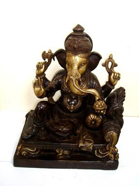 Brass Reclining Ganesh With Pillow Statue From India 14 Inch
