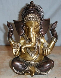 Brass Sitting Ganesha Statue W/3 Tone Finish From India 8 Inch