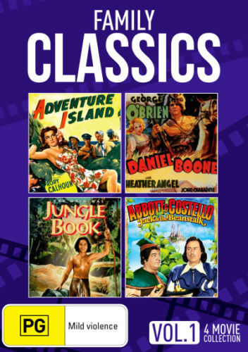 Family Classic Movies - Adventure Island / Daniel Boone / Jungle Book / Jack & the Beanstalk