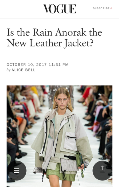 Vogue Suggests Waterproof coat for Spring 2018