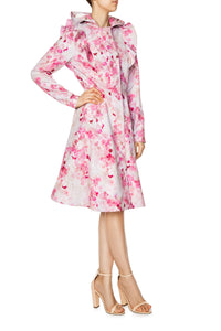 pink fit and flare coat for women