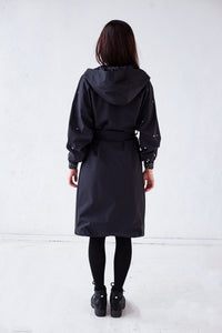 Women's Belted Robe Coat with Hood and pearls on the sleeves