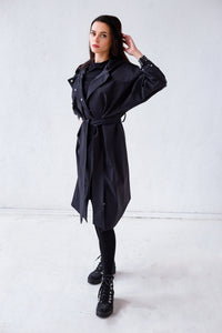 Black Belted Robe Coat with pearl details