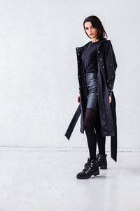 black robe coat with belt