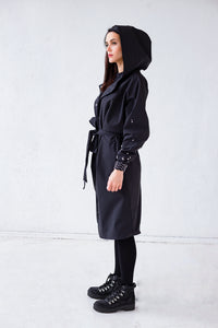 black Belted Robe Coat with Hood