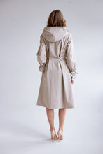 RainSisters Sophisticated Beige Coat with pearl details back