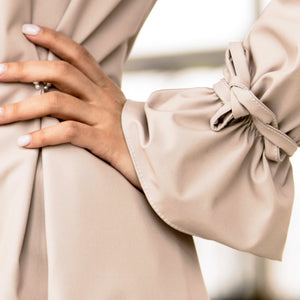 RainSisters Sophisticated Beige Coat with pearl details