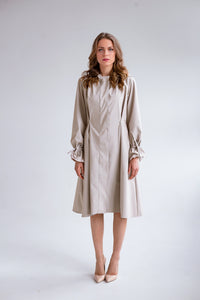 RainSisters Sophisticated Beige Coat with pearl details front