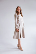RainSisters Sophisticated Beige Coat with pearl details side