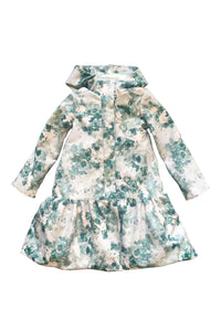 Green Floral Trapeze Raincoat for Girl front