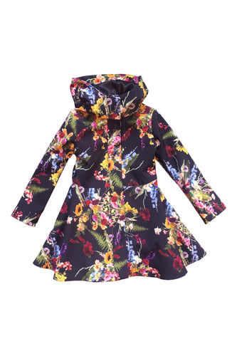 Navy Blue Floral Raincoat for Girls front