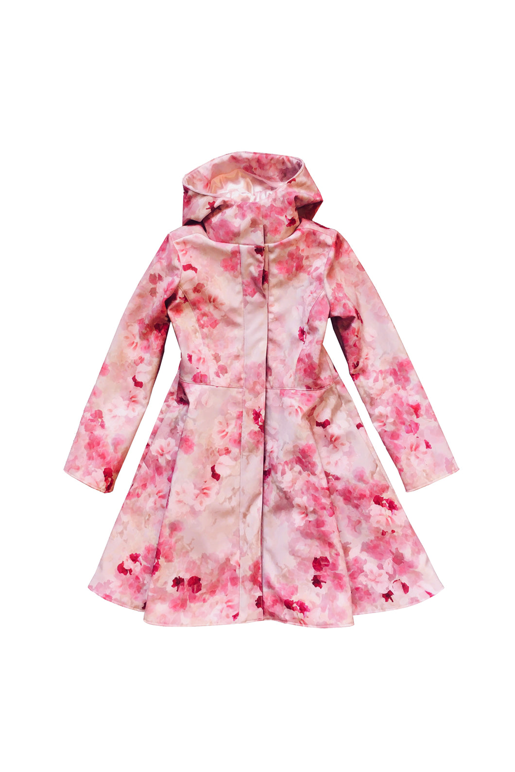 Pink Fit and Flare Raincoat for girls front