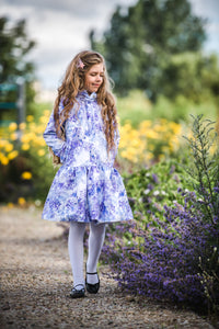 Light Blue Trapeze Raincoat for Girls front & pockets
