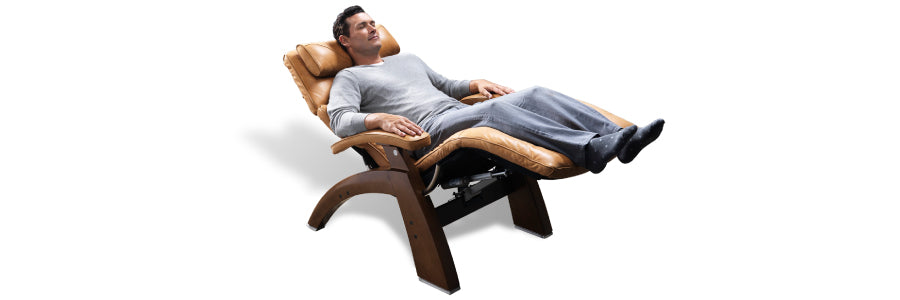 man laying back in a perfect chair recliner