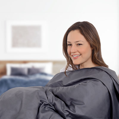 Delos weighted blanket sitting on woman