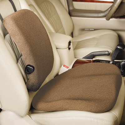 Pebble Beige Color travelite seat and back cushion side shot in a car