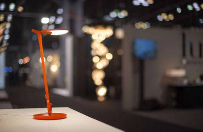 Splitty Lamp Matte Orange Sitting on Desk