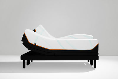 Side shot of an adjustable bed base for the luxe adapt mattress